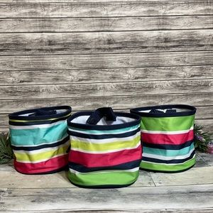 Thirty-One Preppy Pop OH-Snap Bins set of 3
